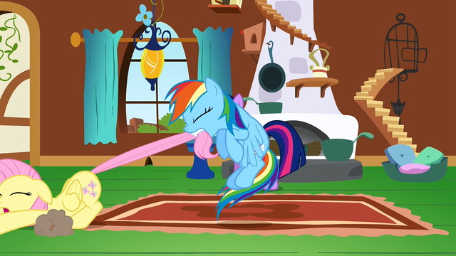 File:Rainbow Dash pulling Fluttershy across the floor S2E21.png