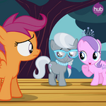 Scootaloo mocked by Diamond Tiara and Silver Spoon promotional S4E05