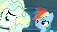 Rainbow Dash looking smug behind Vapor S6E24