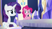Pinkie and Rarity listening to Twilight; Pinkie smiling S5E19
