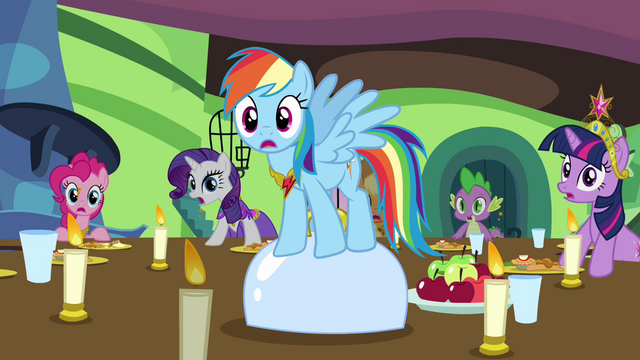 File:Rainbow Dash and friends shocked S03E10.png