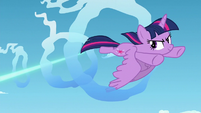 Twilight flies through cloud ring while magic beam is targeted at her S5E26