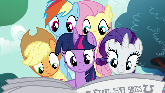 File:Main five reading the Foal Free Press S5E19.png
