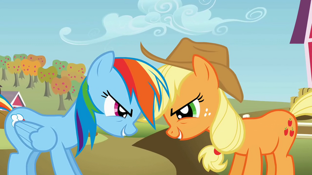 File:Rainbow Dash and Applejack being competitive S01E13.png