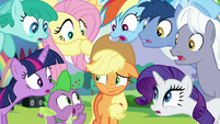 Ponies shocked about Applejack's question S5E24