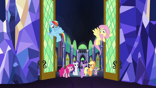 File:Rainbow and Fluttershy open throne room doors S5E03.png