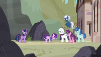 Our Town ponies see Starlight looking regretful S5E26