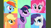 Rainbow, Applejack, Twilight, Pinkie and Rarity talk to each other on-screen S2E1