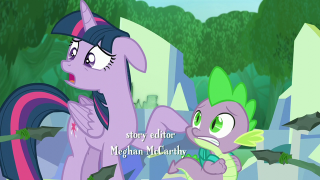 "File:Twilight pointing and Spike ""And he's a dragon!"" S5E26.png"