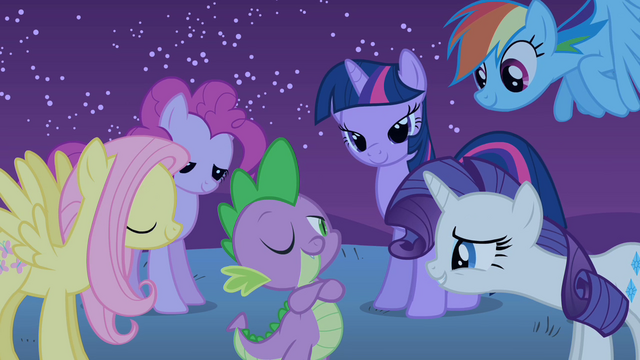 File:The ponies admire Spike S1E24.png