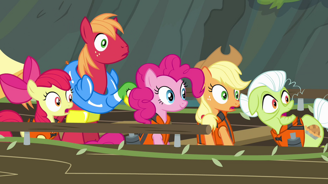 File:Pinkie Pie and Apples looking toward waterfall S4E09.png