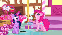 Pinkie Pie grinning while Twilight is about to walk away S4E12