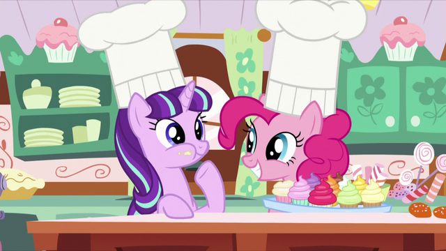 File:Pinkie looking at Starlight chewing cupcake S5E26.png