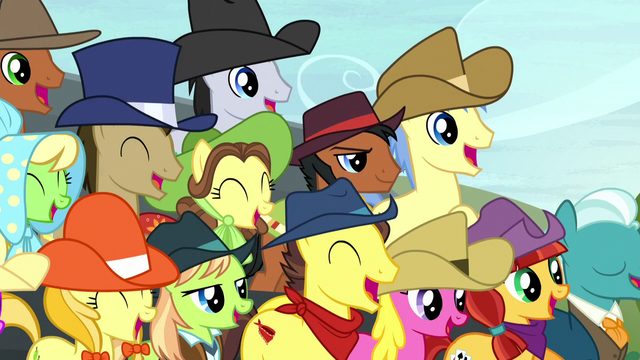 File:Ponies watching the hay bale monster stack S5E6.png