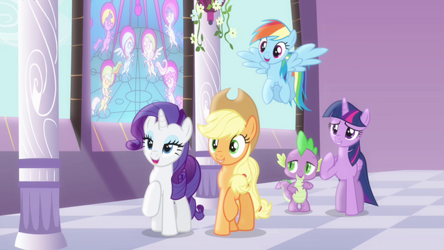 File:Twilight and friends amused by Pinkie S4E01.png
