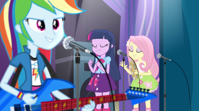 File:Rainbooms having fun on stage EG2.png