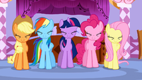 5 main ponies with their eyes shut S01E14