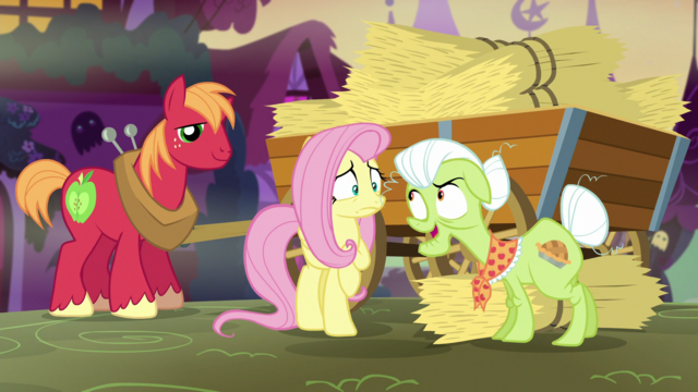 File:Granny Smith telling Fluttershy about the haunted maze S5E21.png