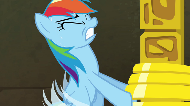 File:Rainbow Dash struggling to lift rings S4E04.png