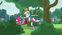 Rainbow pushes Pinkie into a bush EG3