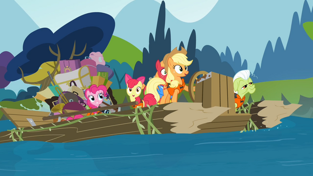 File:The Apples and Pinkie on the raft S4E09.png