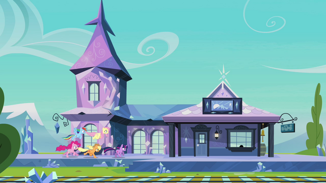 File:Main ponies racing to the train station S03E12.png