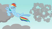 Rainbow Dash kicks cloud S03E13