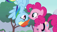 Rainbow looking at Pinkie upside down S4E12