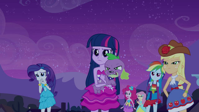 File:Twilight and Spike glare at Sunset EG.png