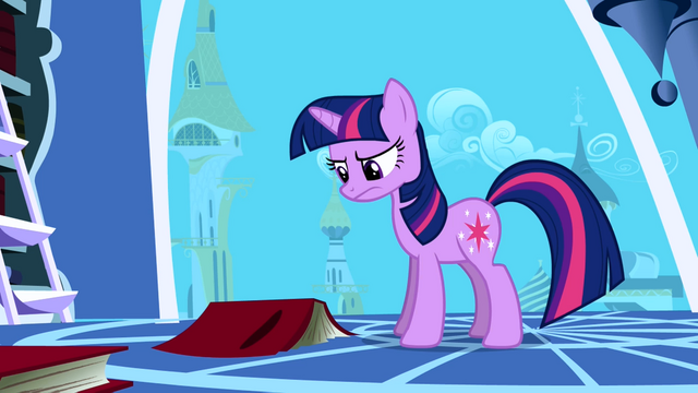 File:Twilight frowning at a book on the floor S1E01.png