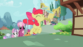 Cheerilee and her students follow Apple Bloom into Ponyville S2E6.png