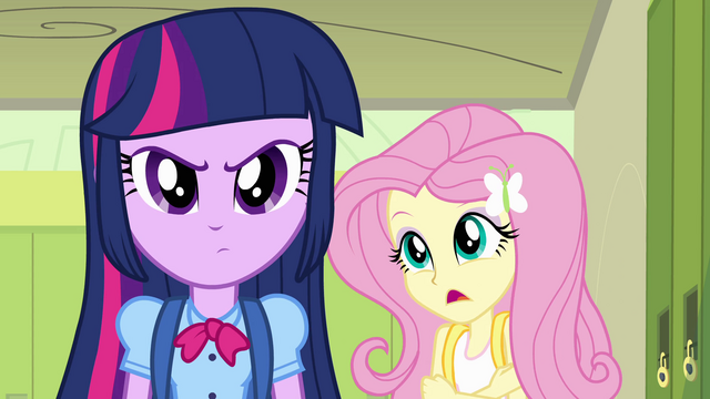 "File:Twilight and Fluttershy ""you've heard of her?"" EG.png"