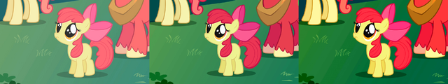 "File:FANMADE Apple Bloom ""Aren't you going to stay for brunch"" S1E01 version comparison.png"