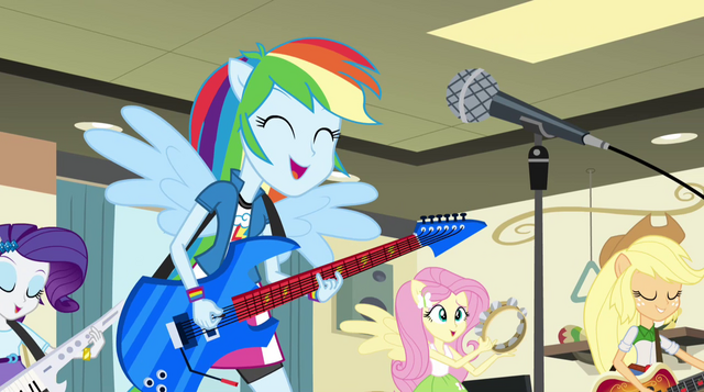 File:Ponified Rainbooms sing in the band room EG2.png