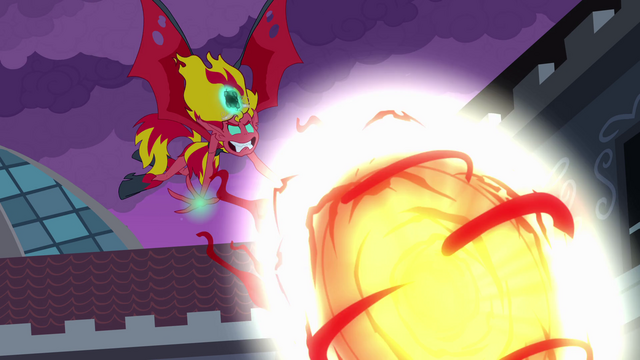File:Demon Sunset Shimmer hurls fireball EG.png