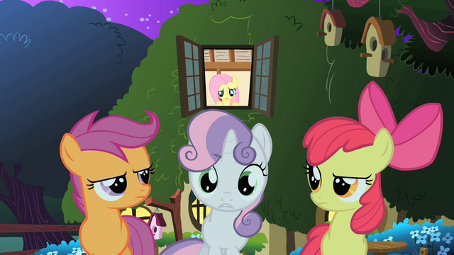 File:The CMC outside of Fluttershy's cottage S1E17.png
