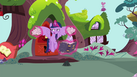 Twilight levitating crumpled papers and book S4E21