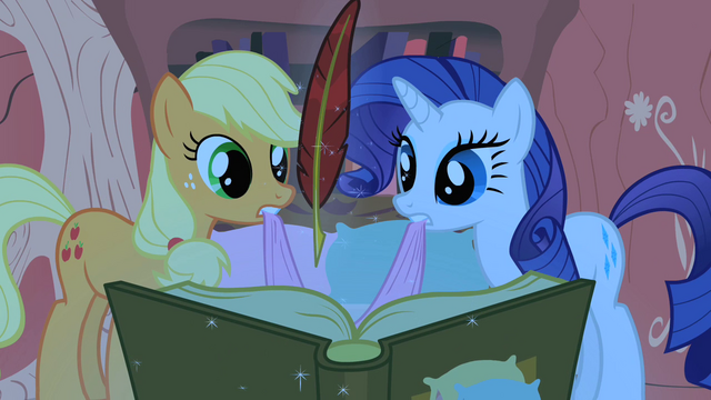 File:Applejack and Rarity looking at Twilight's book S1E08.png