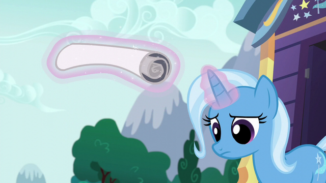 File:Trixie rolls up the poster disappointed S6E6.png