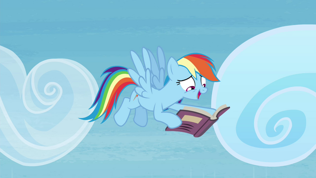File:Rainbow Dash happily reading book S4E22.png