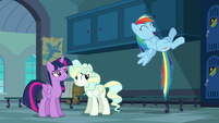 Rainbow happily hovering in the air S6E24