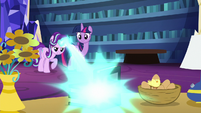 Starlight Glimmer zapping a stack of books S6E21