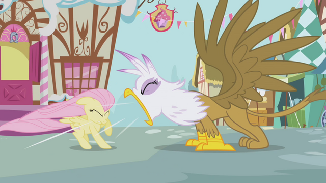 File:Gilda roaring at Fluttershy S1E5.png