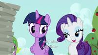 Rarity greets Twilight and Spike S6E10