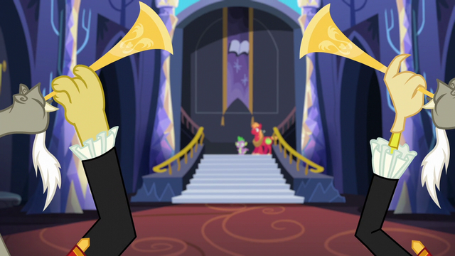 File:Discord duplicates blowing trumpets S6E17.png