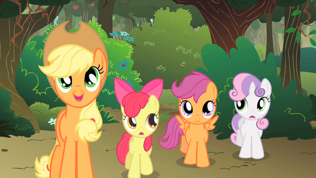 File:The CMC follow Applejack S1E18.png
