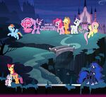 The Mane Six at a castle