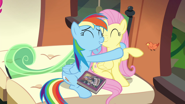File:Rainbow Dash hugging Fluttershy S4E22.png