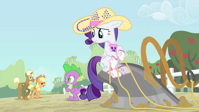 File:Rarity and Spike sees Applejack and Trenderhoof S4E13.png