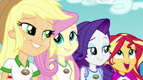 Applejack and Fluttershy smile at each other EG4